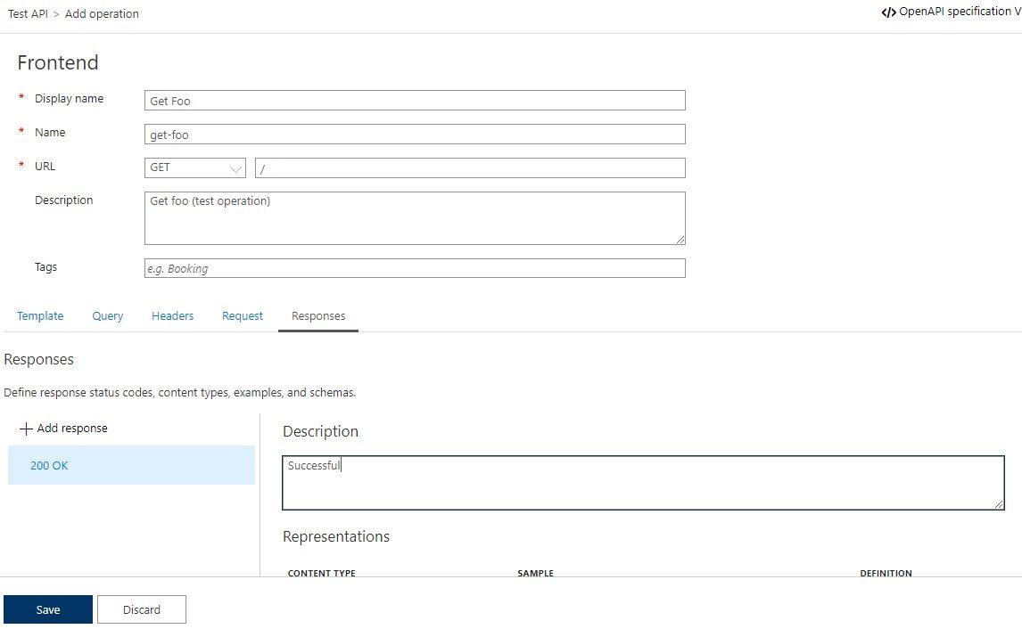 Add operation to APIM API in Azure portal Step 6