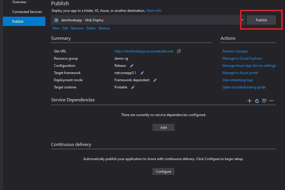 Publishing Web App Project from Visual Studio Step 5