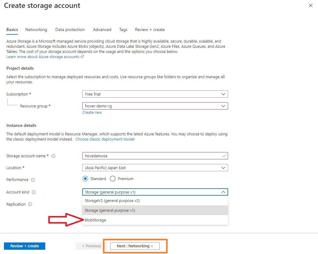 Azure storage - Create BlobStorage account Step 1