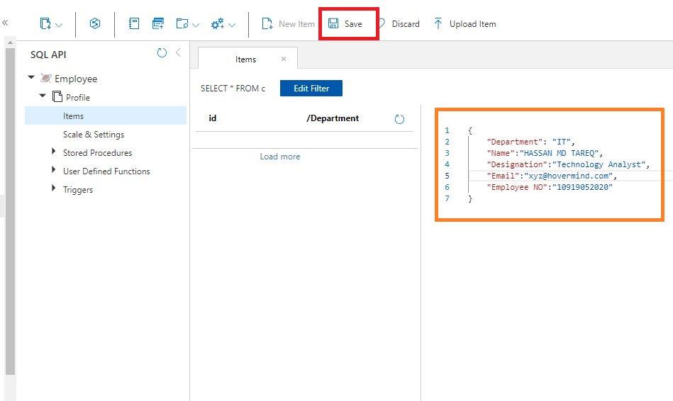 Add item to cosmosdb container using data explorer Step 3