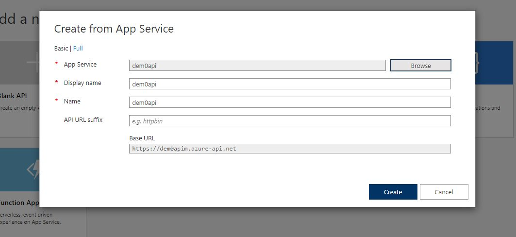 Adding existing app service API app Step 5
