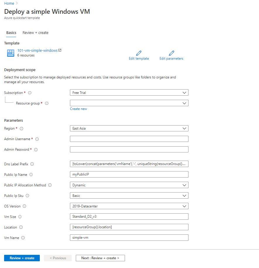 Creating Virtual Machine using ARM template Step 2