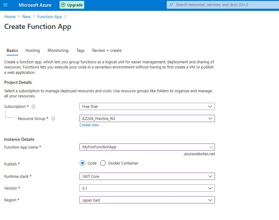 Azure Function app - publish to Azure cloud and test Step 1