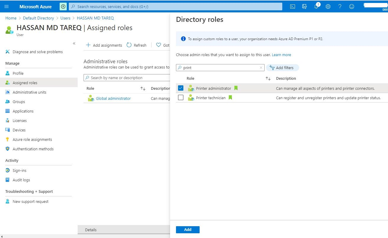 Azure Universal Print - assinging Print Administrator role