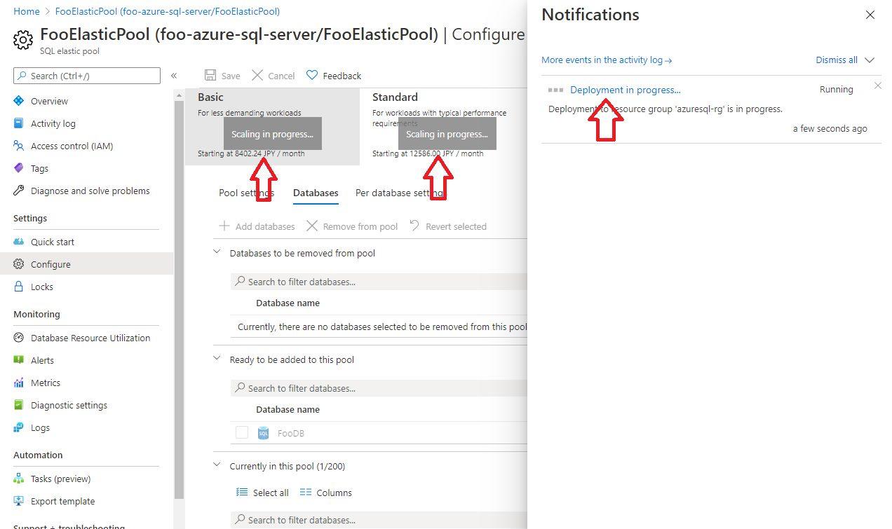 Azure SQL - Adding Existing Database to Elastic Pool Step 5
