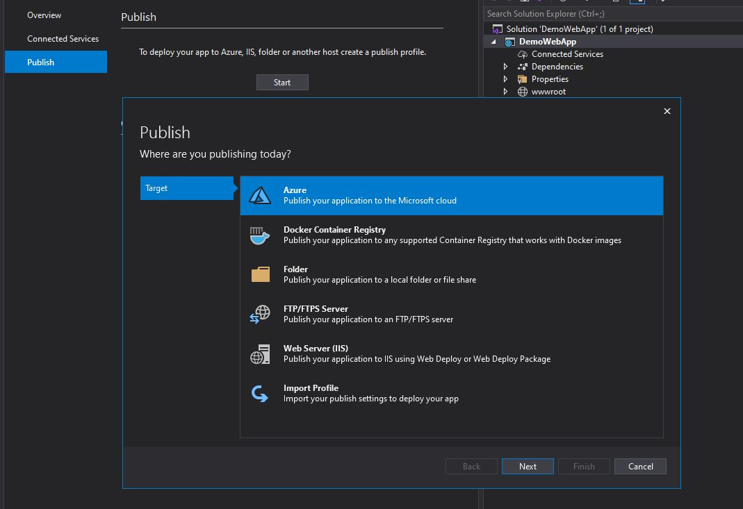 Publishing Web App Project from Visual Studio Step 2