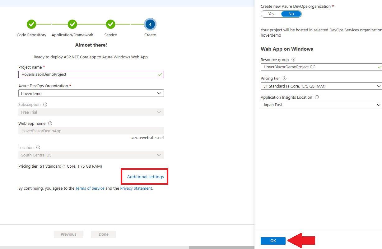 Azure DevOps Starter - start with existing application Step 7