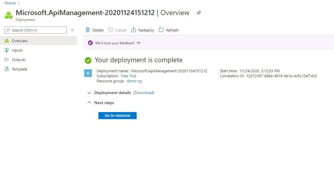 Creating API management instance Step 7