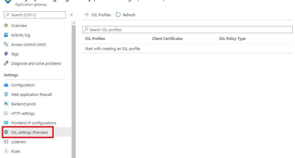 Azure Application Gateway - SSL settings