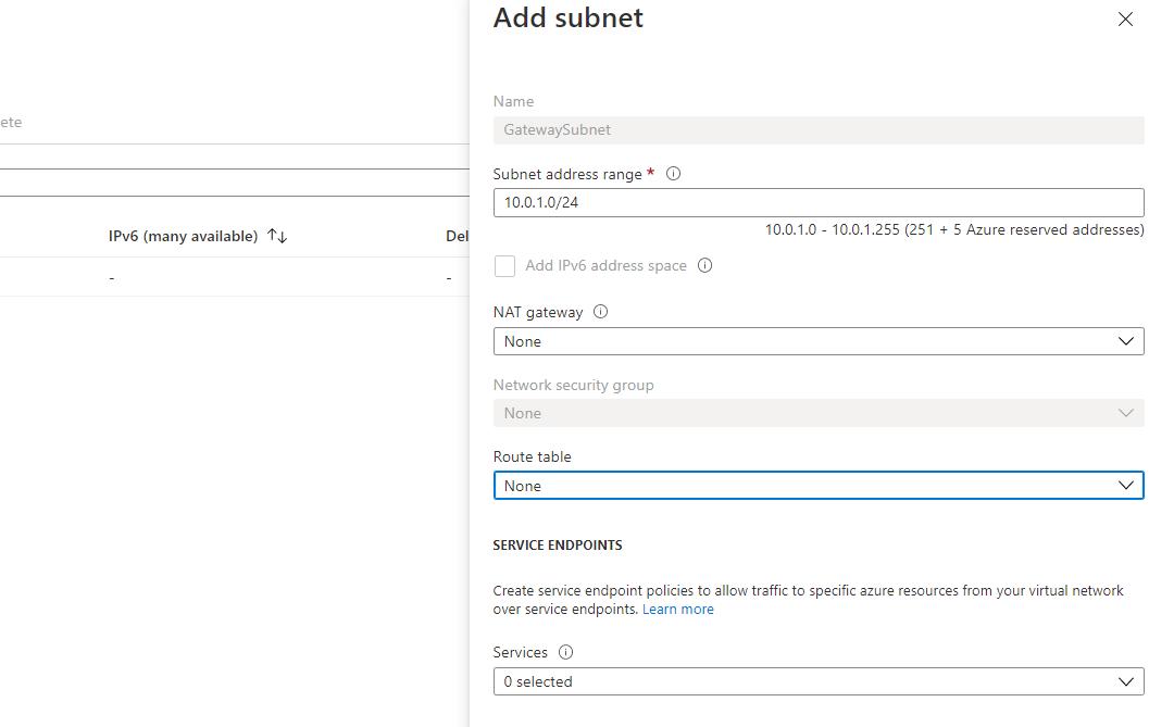 Azure Virtual Network - Creating VPN Gateway Step 3
