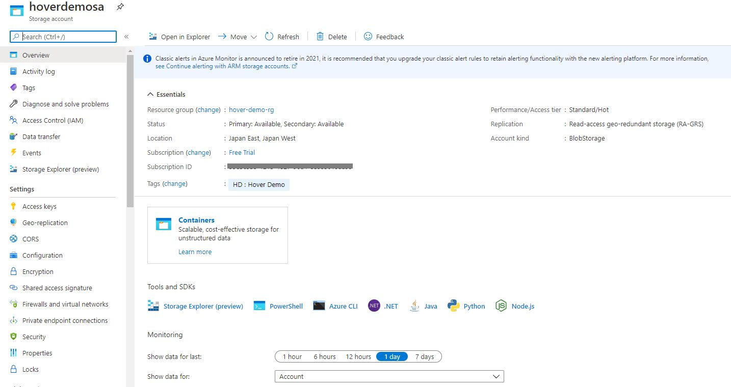 Azure storage - Create BlobStorage account Step 8