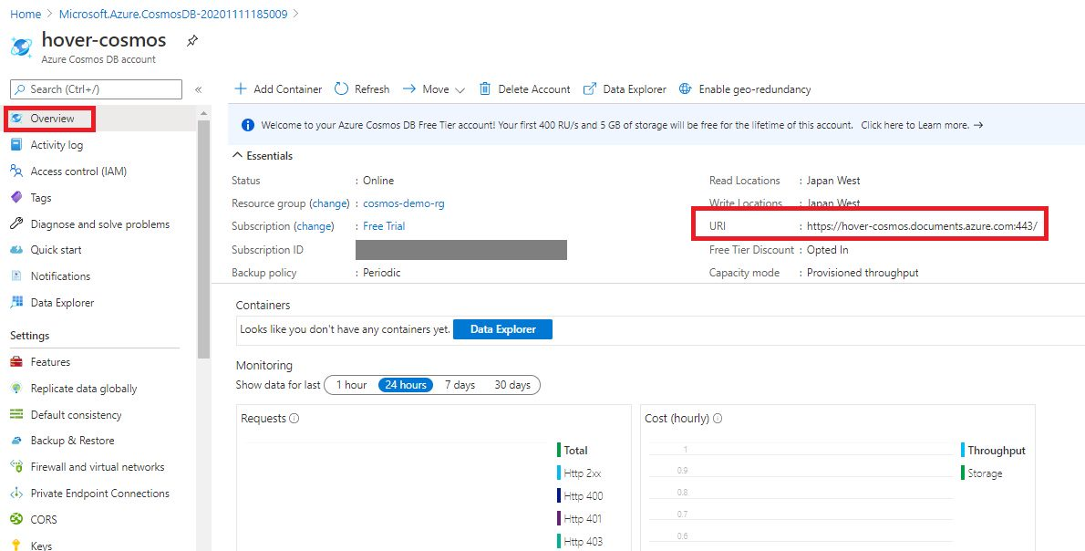 Creating cosmosdb account using Azure portal Step 9