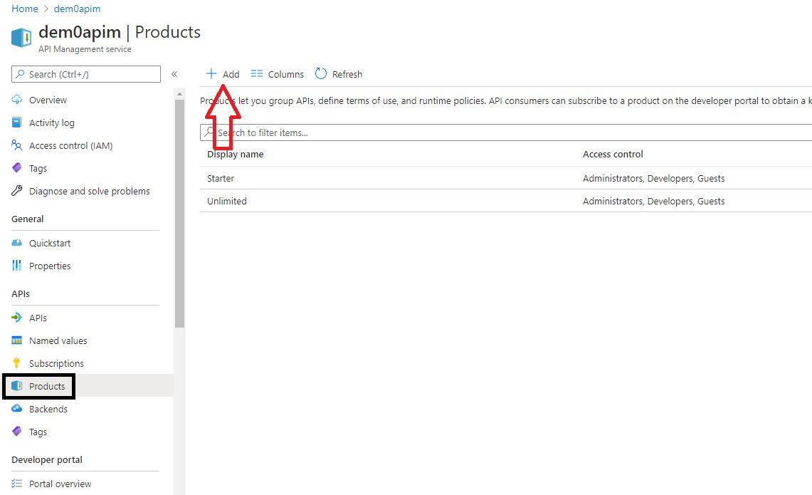 Create APIM product in Azure portal Step 1