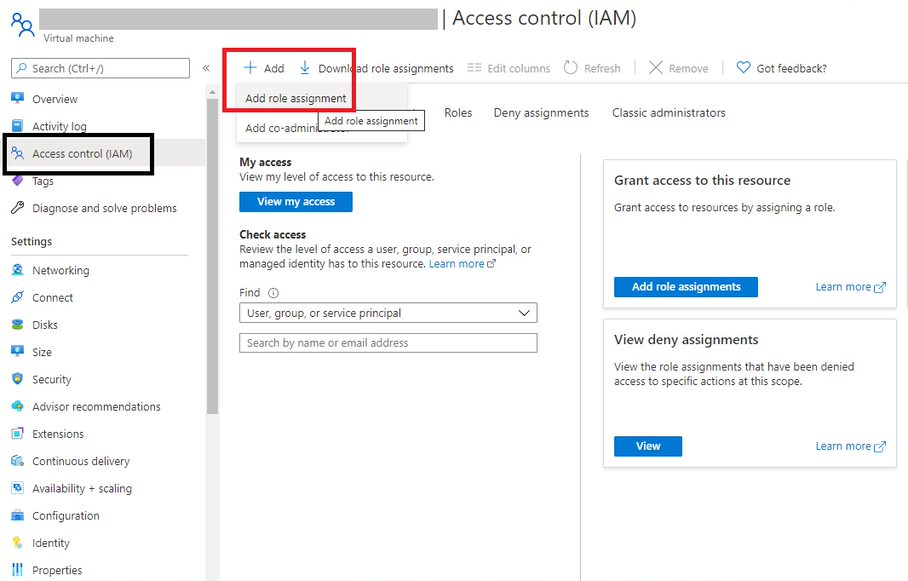 Role assignment for Azure AD joined VM Step 1