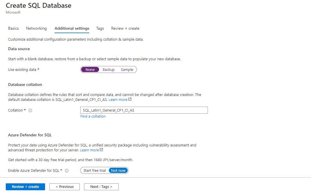 Azure SQL - Creating Single Database Step 4