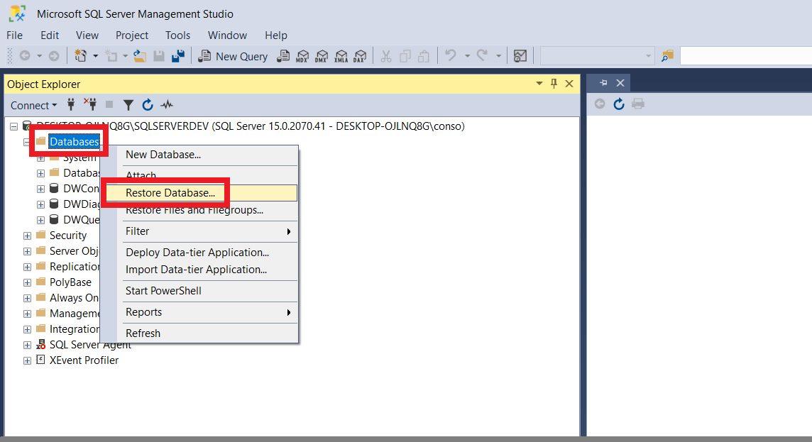 Restoring sample database from backup file using ssms Step 1