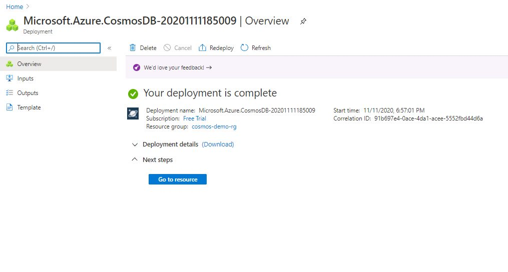 Creating cosmosdb account using Azure portal Step 8