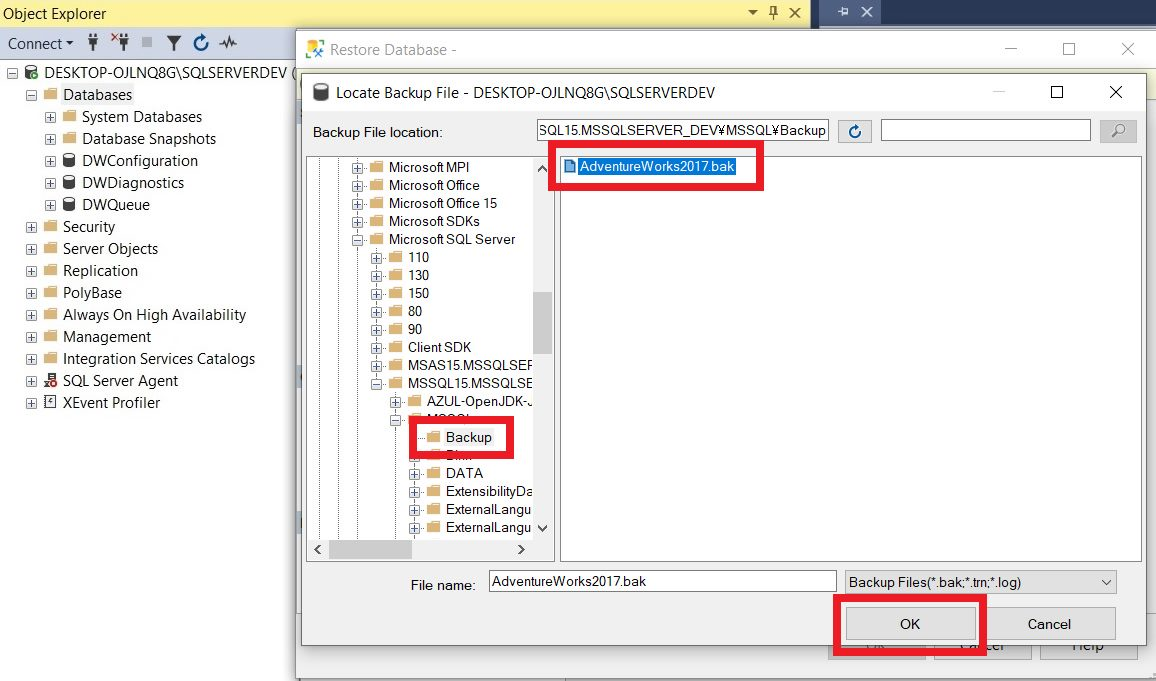 Restoring sample database from backup file using ssms Step 4