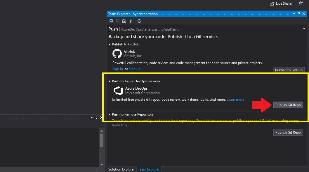 Azure DevOps - create repository from visual studio Step 4