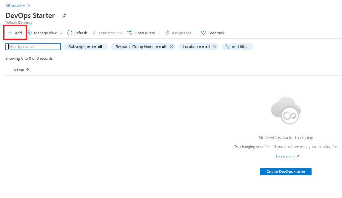Azure DevOps Starter - create new application Step 2
