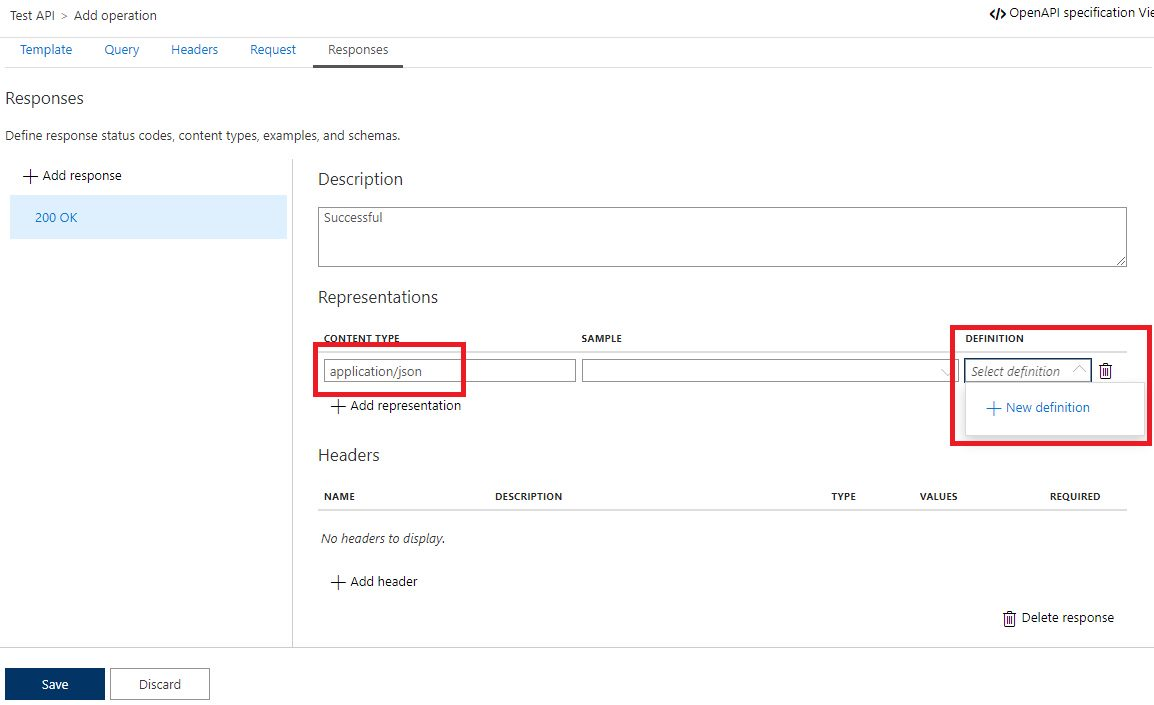 Add operation to APIM API in Azure portal Step 8