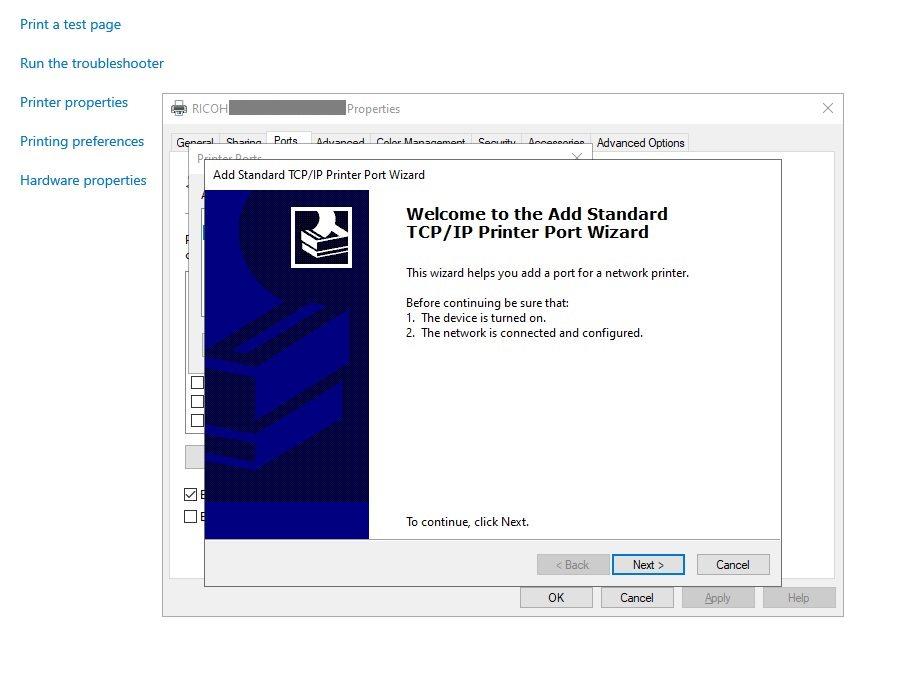 Adding Printer to Azure VM by IP Address Step 6