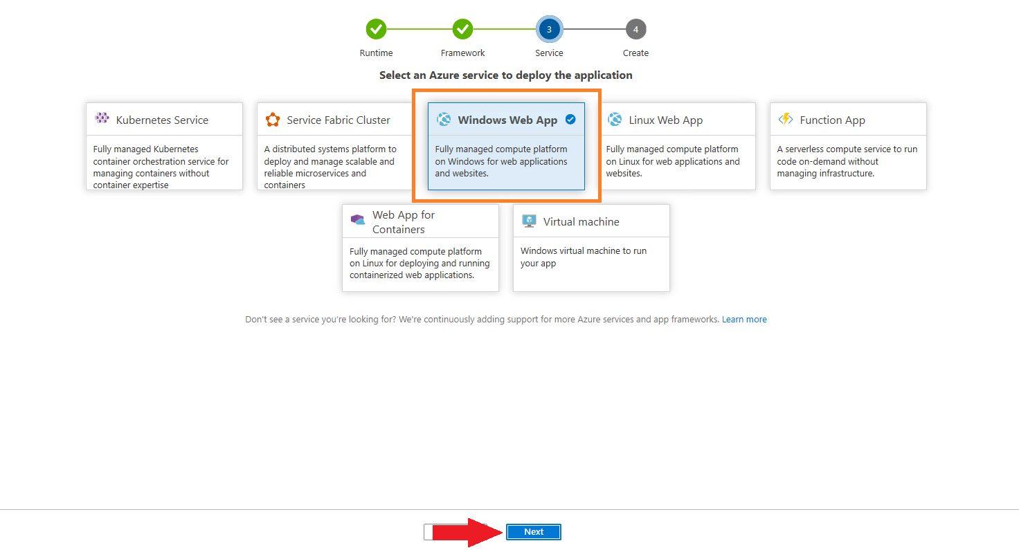 Azure DevOps Starter - create new application Step 5