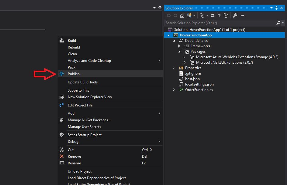 Azure Function app - publish to Azure cloud and test Step 5