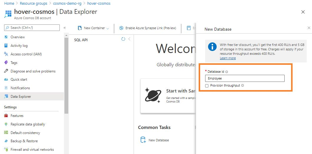 Creating cosmosdb database using Azure portal Step 3