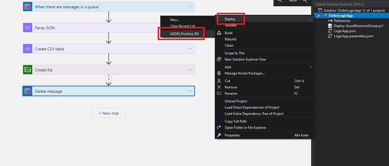 Publishing Azure Logic App from Visual Studio Step 1