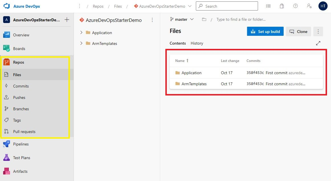 DevOps Starter new application - Created Project, Repository and Pipelines in Azure DevOps Step 2