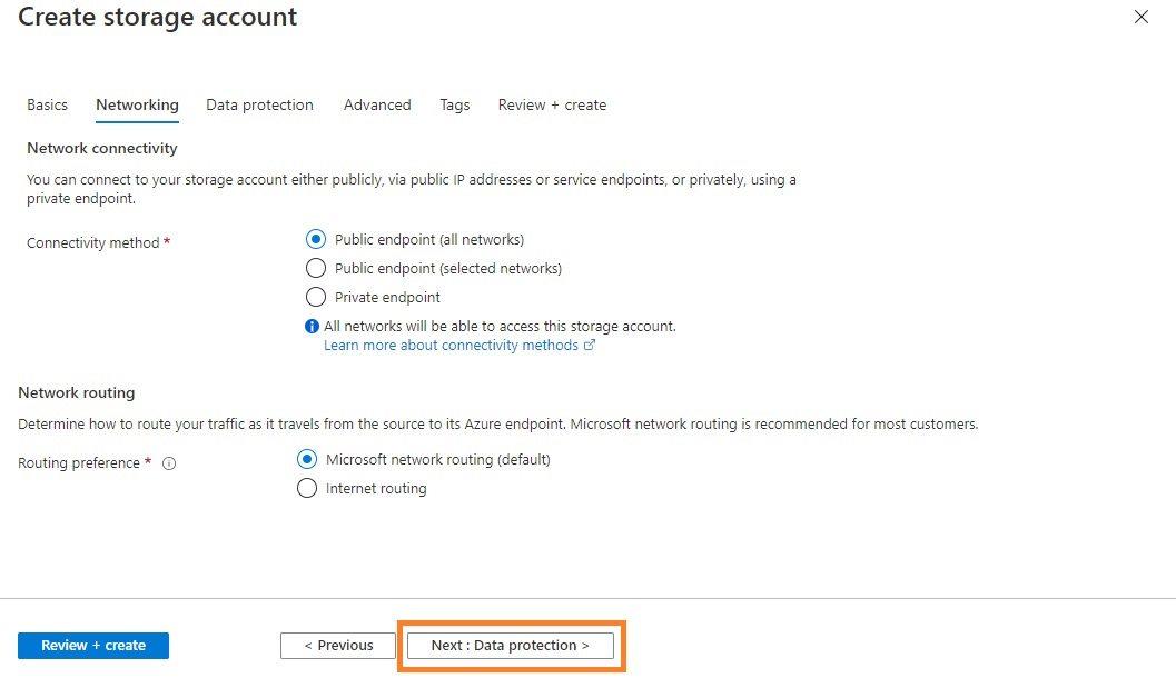 Azure storage - Create BlobStorage account Step 2
