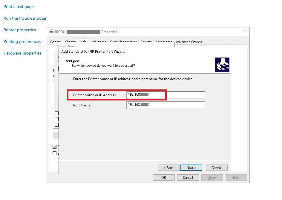 Adding Printer to Azure VM by IP Address Step 7