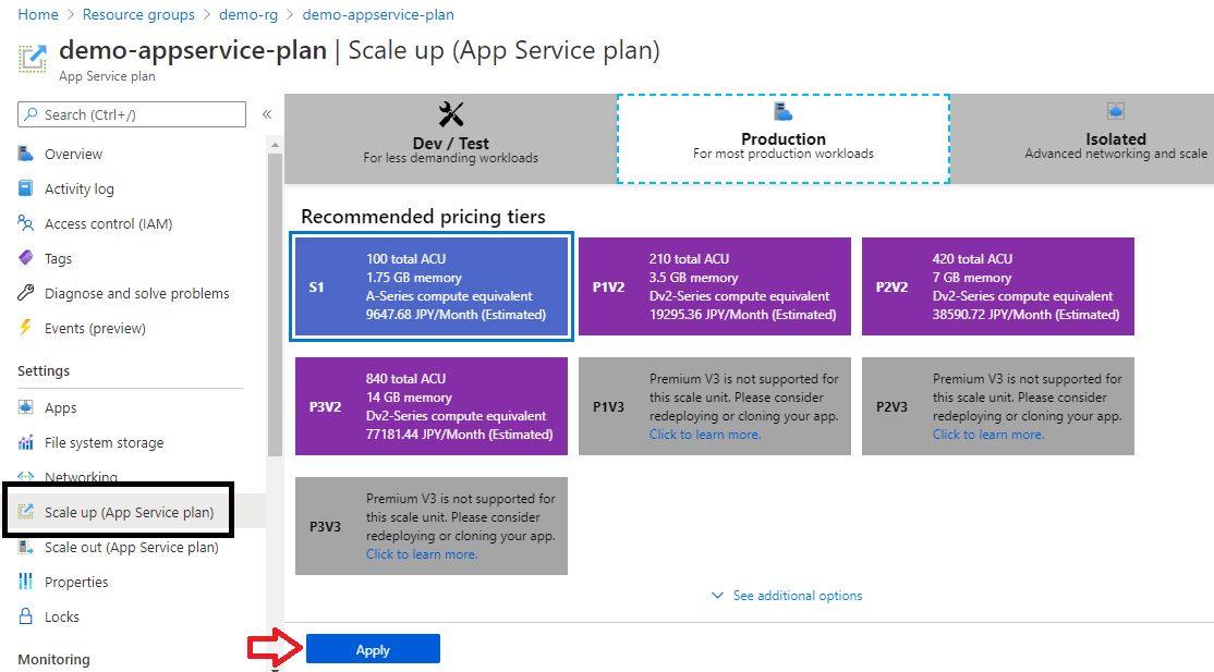 Upgrading App Service Plan Step 2