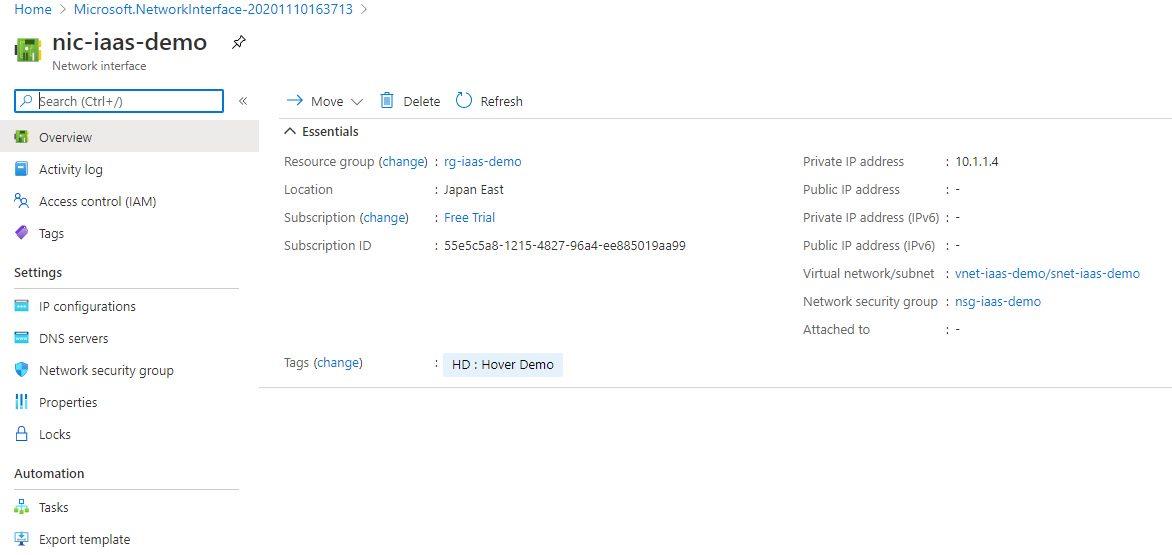 Creating network interface using Azure portal Step 5