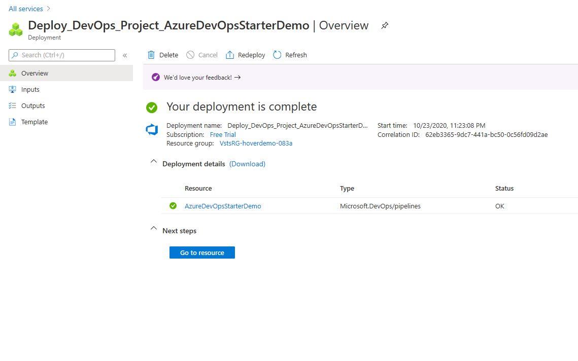 Azure DevOps Starter - create new application Step 7