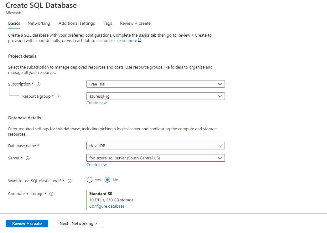 Azure SQL - Creating Single Database Step 2