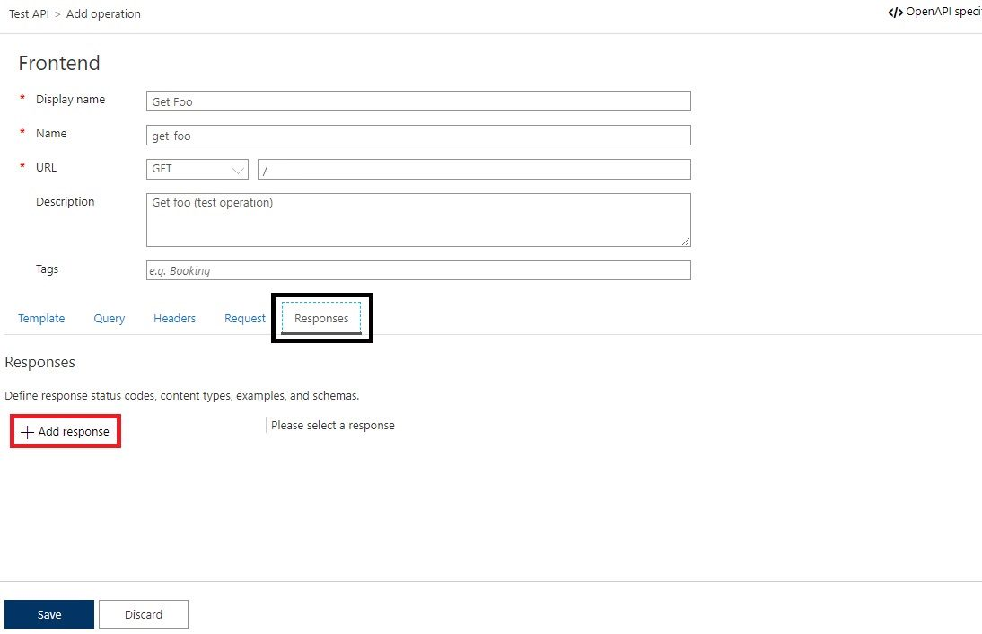 Add operation to APIM API in Azure portal Step 5