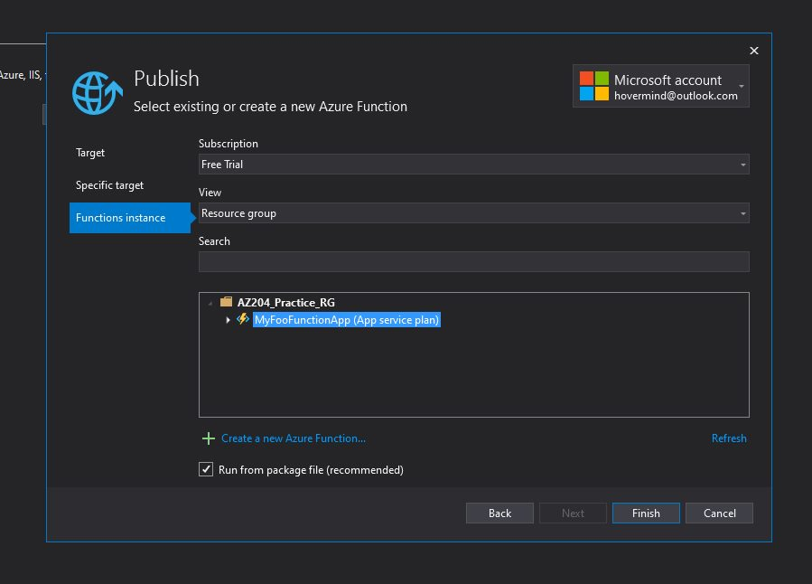 Azure Function app - publish to Azure cloud and test Step 7