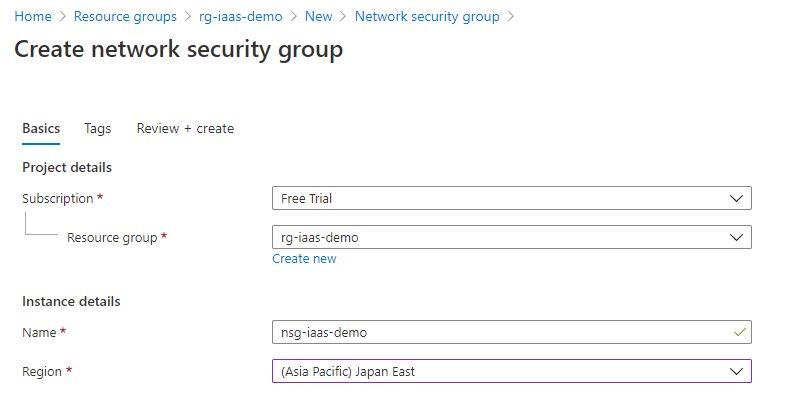 Creating NSG using Azure portal Step 1