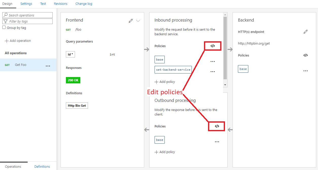 Editing an API operation in Azure portal Step 7