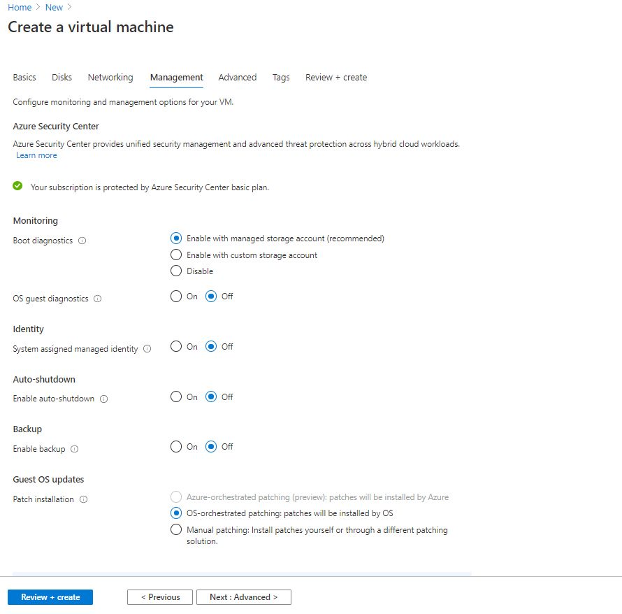 Creating Virtual Machine using Azure portal Step 5