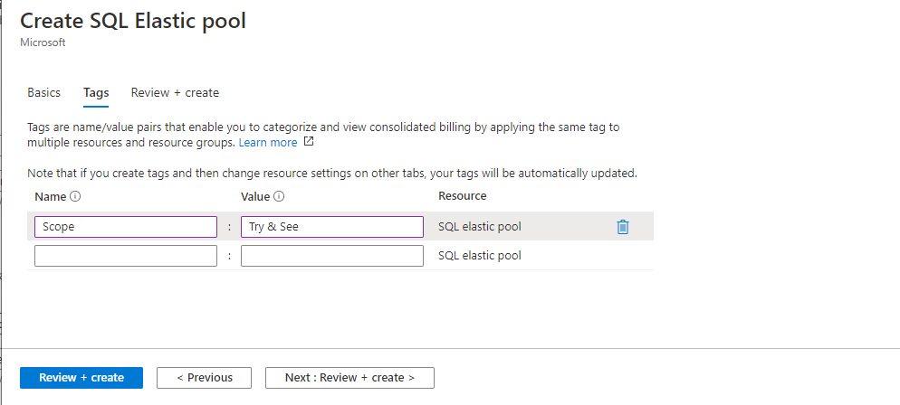 Azure SQL - Creating Elastic Pool Step 3