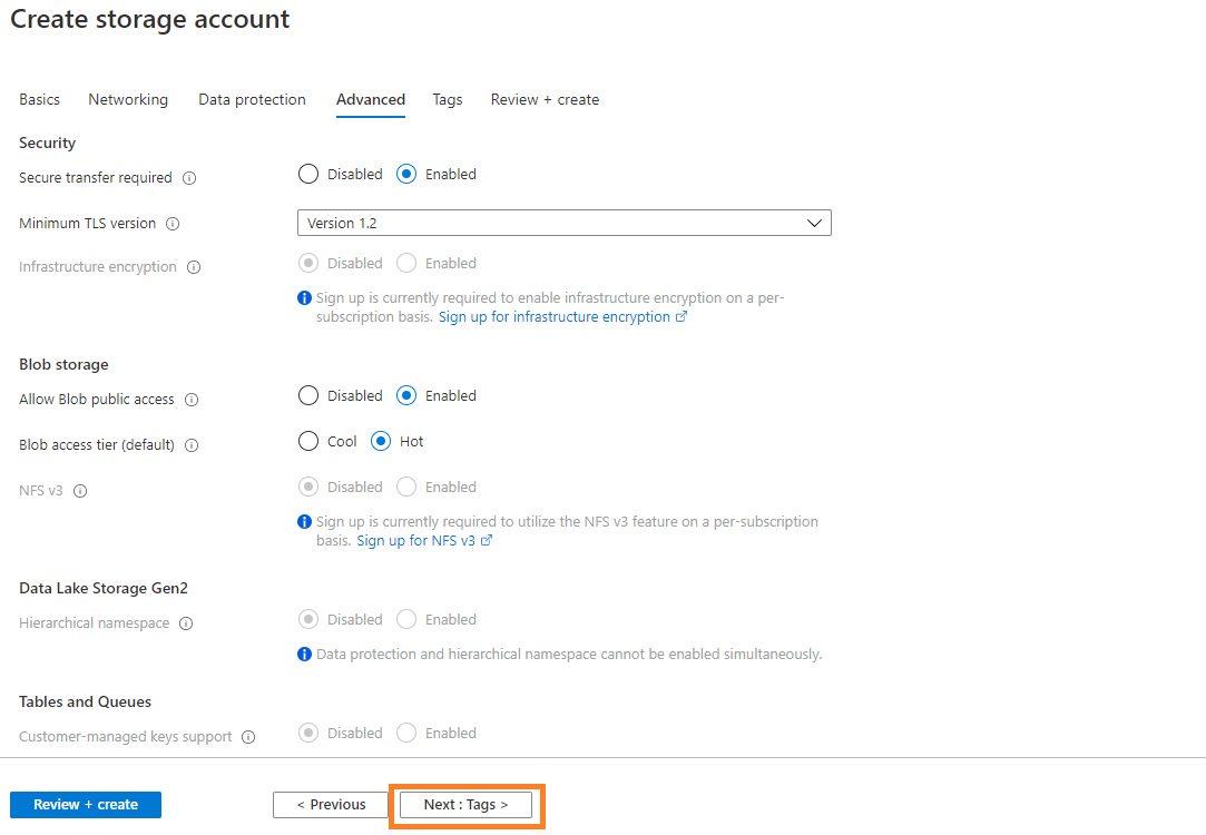 Azure storage - Create BlobStorage account Step 4