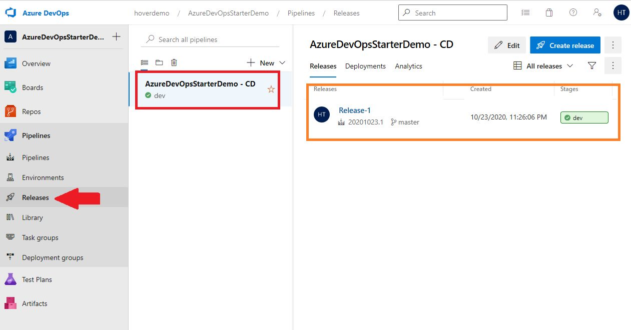 DevOps Starter new application - Created Project, Repository and Pipelines in Azure DevOps Step 4