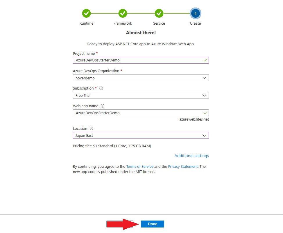 Azure DevOps Starter - create new application Step 6
