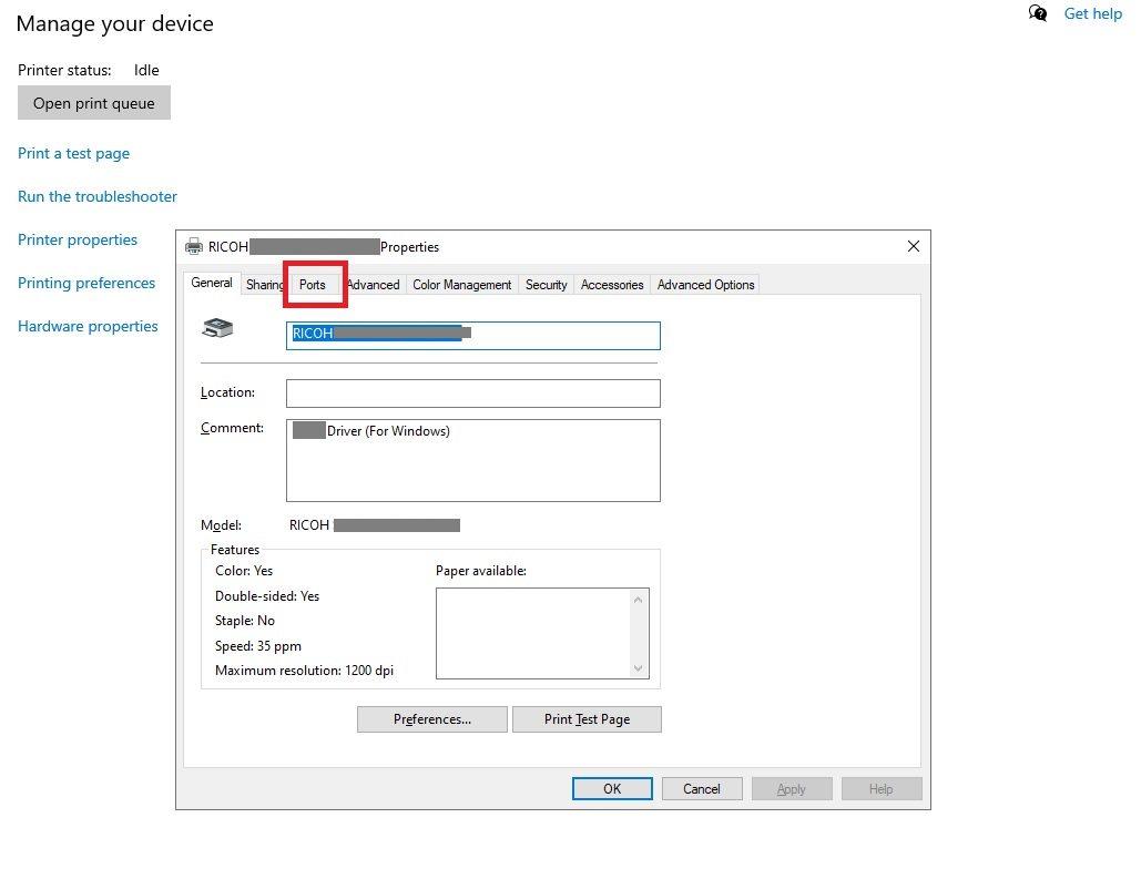 Adding Printer to Azure VM by IP Address Step 3