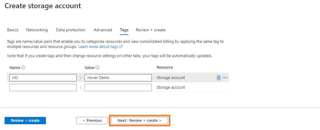 Azure storage - Create BlobStorage account Step 5
