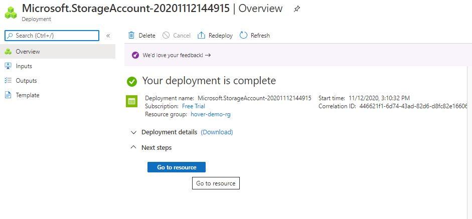 Azure storage - Create general purpose storage account Step 7