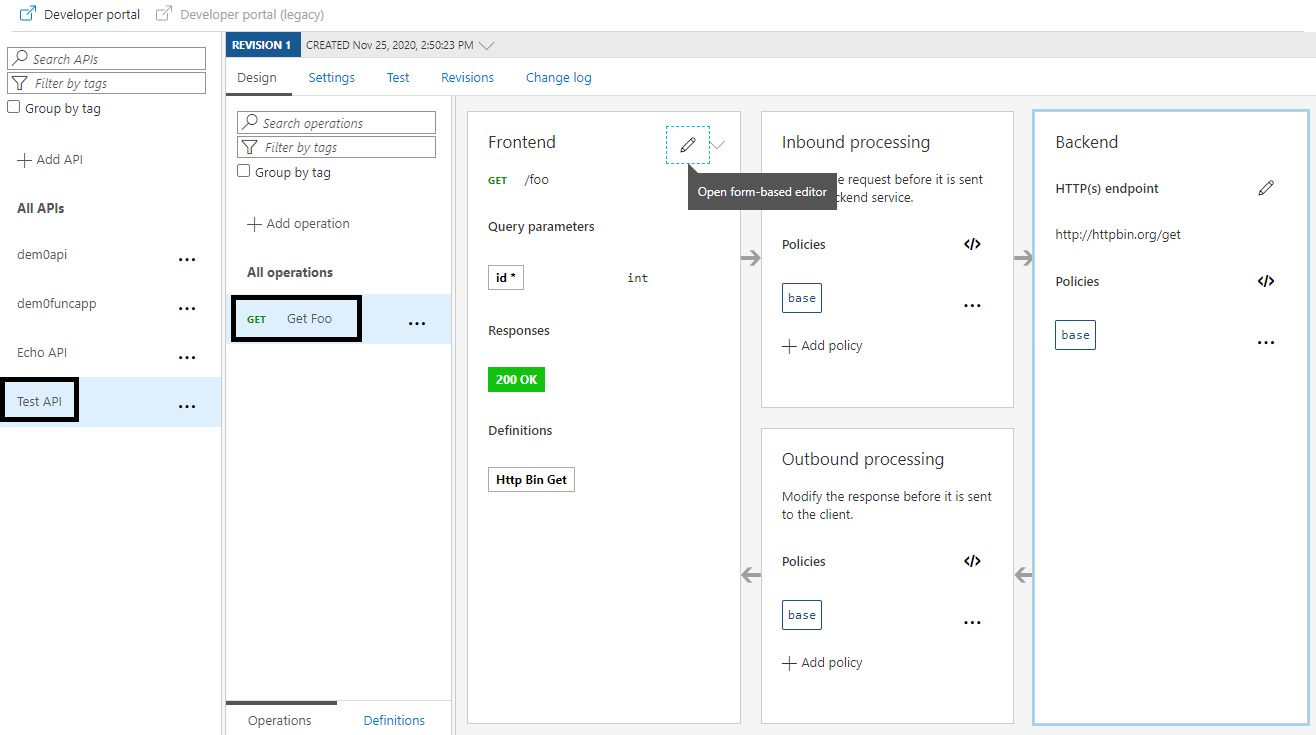 Editing an API operation in Azure portal Step 1